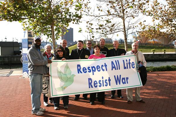 Protest outside Baltimore's Inner Harbor Marriot where