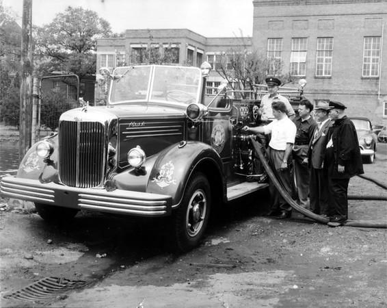Engine 6 circa 1950. Raleigh Fire Department photo.