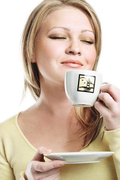 the portrait of the beautiful girl with coffe cup