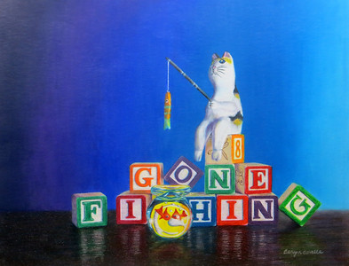 """Gone Fishing"" (colored pencil, water-soluble wax crayons) by Caryn Coville"