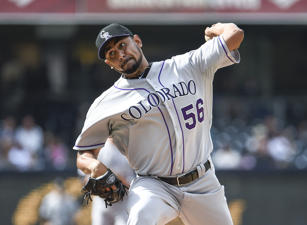 . Franklin Morales #56 of the Colorado Rockies pitches during the first inning of a  baseball game against the San Diego Padres at Petco Park April 17, 2014 in San Diego, California.  (Photo by Denis Poroy/Getty Images)
