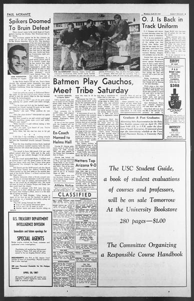 Daily Trojan, Vol. 58, No. 107, April 18, 1967