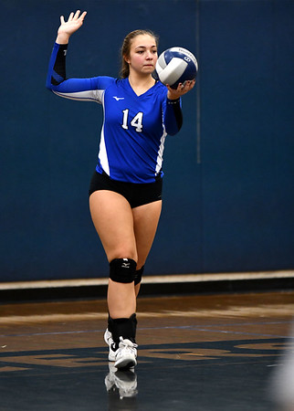 11/1/2019 Mike Orazzi | StaffrBristol Easterns Ariana Caucci (14) during Friday night's girls volleyball match with Lyman Memorial in Bristol. r