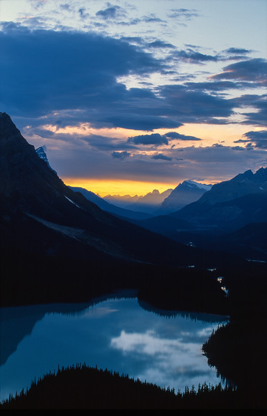 Peyto Lake at sunset, Banff National Park