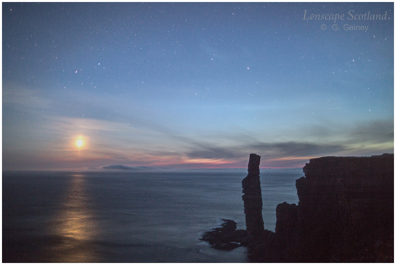 Old Man of Hoy at night, with setting moon (1)