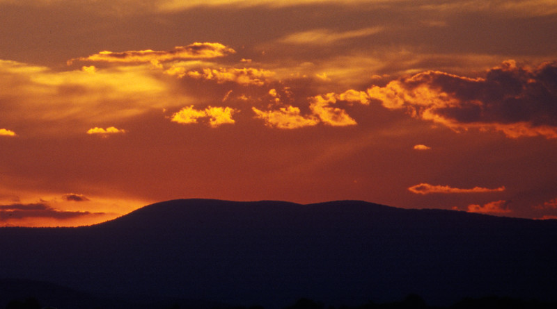 Sunset over Springer Mountain, sourthern terminus of the Appalachian Trail