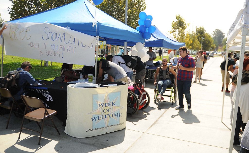 . San Bernardino Valley College students returning  back to school after the summer break Monday August 19, 2013 in San Bernardino.LaFonzo Carter/ Staff Photographer