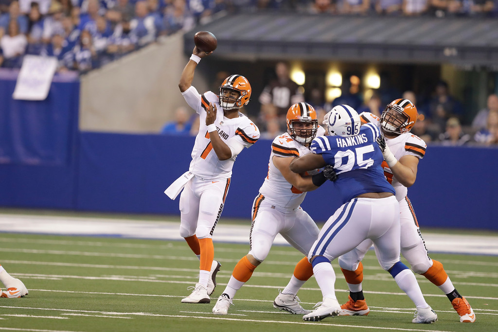 . Cleveland Browns quarterback DeShone Kizer (7) during the first half of an NFL football game against the Indianapolis Colts in Indianapolis, Sunday, Sept. 24, 2017. (AP Photo/Darron Cummings)