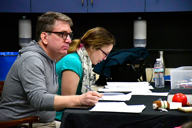 2/16/2019 Mike Orazzi | Staff No Boundaries Youth Theater's Darren Farrington and Nicki LaPorte while directing an acting class at the New Britain-Berlin YMCA in Berlin Saturday morning.