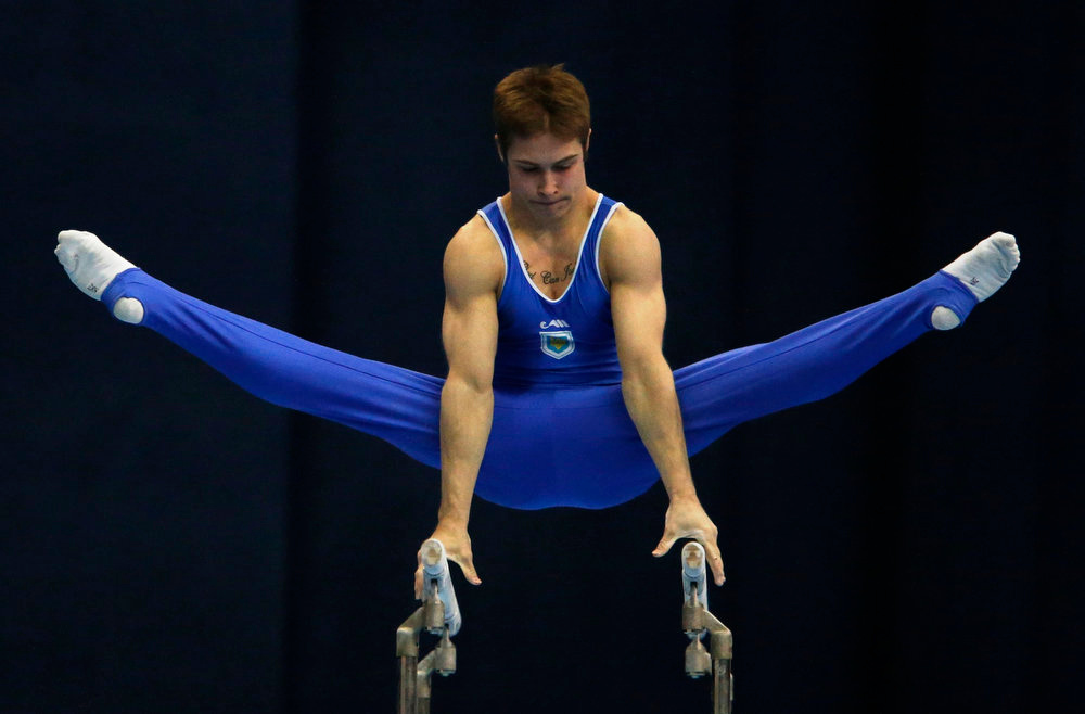 . Ukraine\'s Oleg Stepko competes on the parallel bars during the men\'s apparatus finals at the European Men\'s and Women\'s Artistic Gymnastic individual Championships in Moscow April 21, 2013.  REUTERS/Grigory Dukor