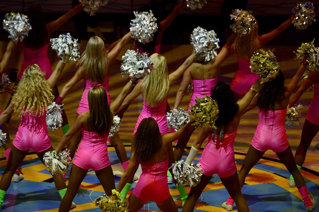 . DENVER, CO - FEBRUARY 5: Cheerleaders get the crowd going before the first quarter of action. The Denver Nuggets take on the Milwaukee Bucks in NBA action. (Photo By AAron Ontiveroz/The Denver Post)