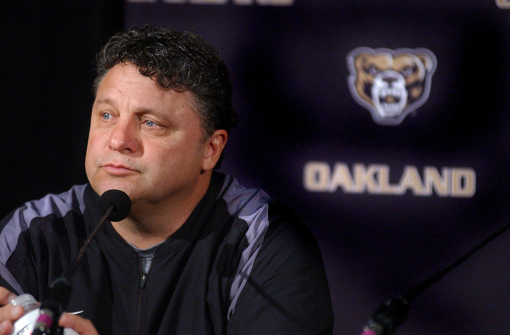 . Oakland University\'s men\'s basketball coach Greg Kampe during media day practice. The Oakland Press/TIM THOMPSON