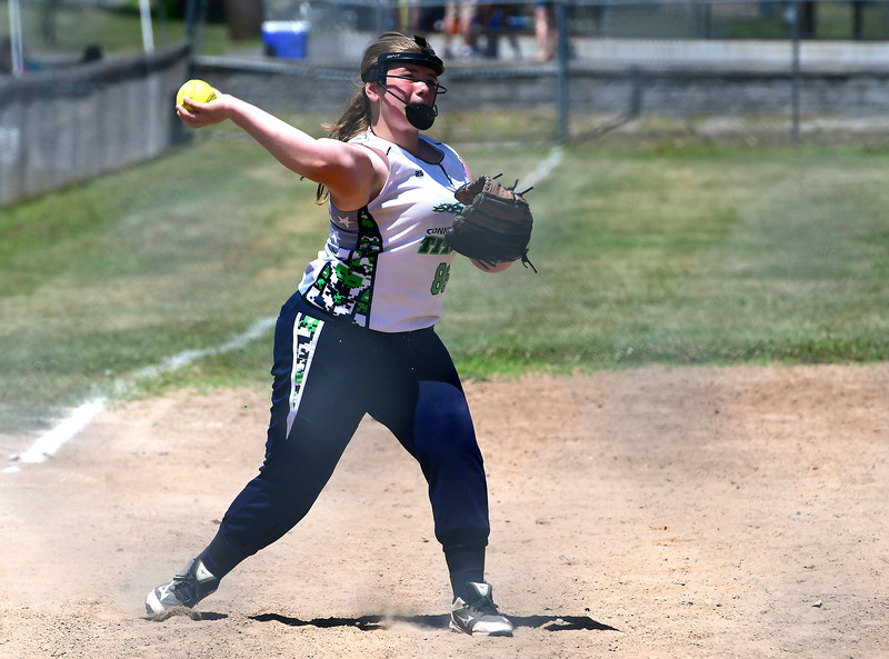 7/21/2018 Mike Orazzi | Staff Terryville Titian Maura Tierney (86) during softball at the Nutmeg Games in New Britain Saturday.