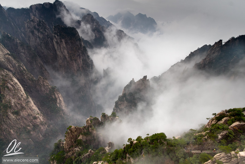 Peaks through the clouds