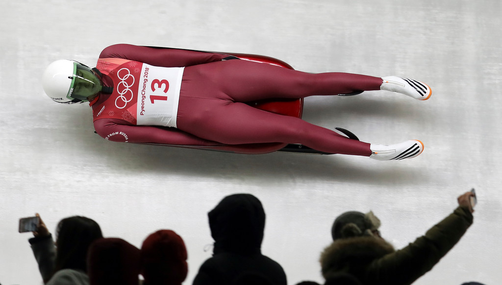 . Ekaterina Baturina of the Olympic Athletes of Russia competes in her first run during the women\'s luge competition at the 2018 Winter Olympics in Pyeongchang, South Korea, Monday, Feb. 12, 2018. (AP Photo/Michael Sohn)