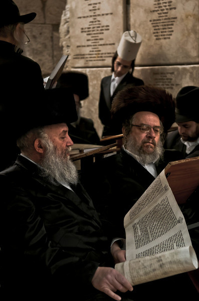 Haredim praying at the wailing wall.