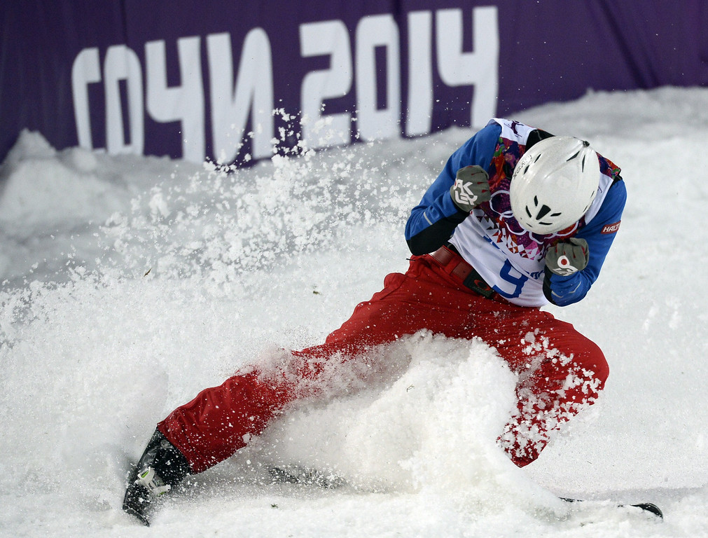 . China\'s Jia Zongyang celebrates as he competes in the Men\'s Freestyle Skiing Aerials finals at the Rosa Khutor Extreme Park during the Sochi Winter Olympics on February 17, 2014.  FRANCK FIFE/AFP/Getty Images