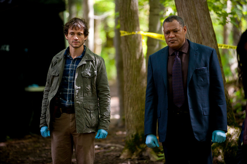 """. Hugh Dancy (\""""Black Hawk Down\"""") as Will Graham and Laurence Fishburne (\""""The Matrix\"""") as Jack Crawford in \""""Hannibal,\""""  \""""Potage\"""" Episode 102. (Photo by: Brooke Palmer/NBC)"""