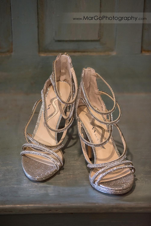 silver wedding shoes at Sunol's Casa Bella
