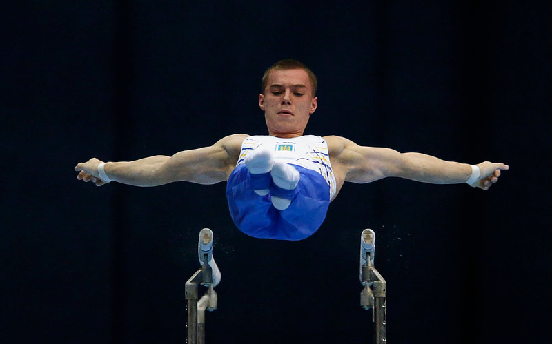 . Ukraine\'s Oleh Vernyayev competes on the parallel bars during the men\'s apparatus finals at the European Men\'s and Women\'s Artistic Gymnastic individual Championships in Moscow April 21, 2013.  REUTERS/Grigory Dukor