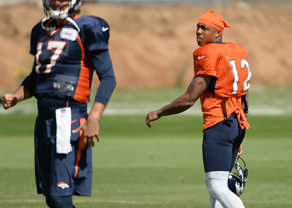 . Andre Caldwell of Denver Broncos (12) at the Denver Broncos 2014 training camp at Dove Valley, Englewood, Colorado, August 01, 2014. (Photo by Hyoung Chang/The Denver Post)