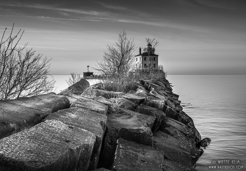 Mentor Lighthouse      Black & White Photography by Wayne  Heim