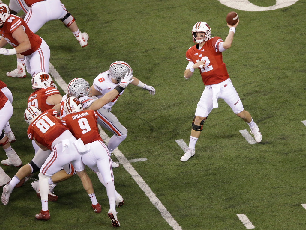 . Wisconsin quarterback Alex Hornibrook throws during the first half of the Big Ten championship NCAA college football game against Ohio State, Saturday, Dec. 2, 2017, in Indianapolis. (AP Photo/AJ Mast)