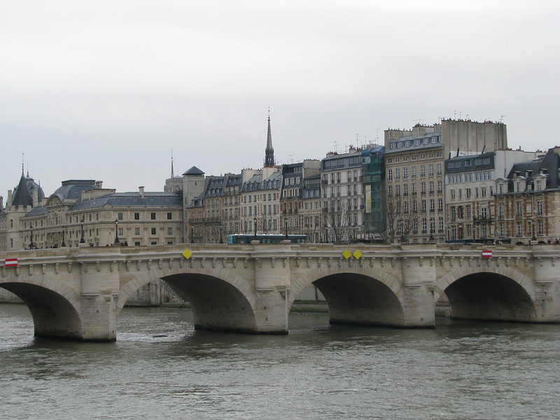 The Pont de Neuf bridge that links the mainland part of Paris with the Ilse de Cite where Notre Dame is...looking at the island.