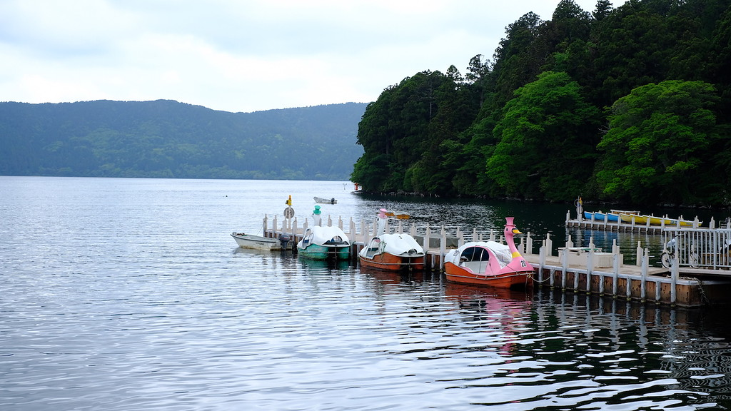Pedal-operated swan shaped boats on Lake Ashinoko.