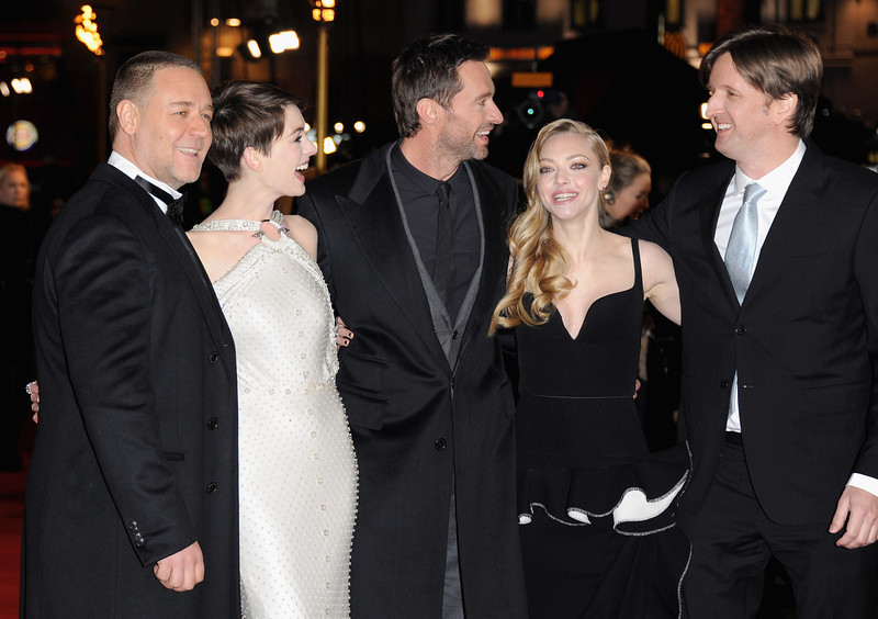 ". Actors Russell Crowe, Anne Hathaway, Hugh Jackman, Amanda Seyfriend and director Tom Hooper attend the ""Les Miserables\"" World Premiere at the Odeon Leicester Square on December 5, 2012 in London, England.  (Photo by Stuart Wilson/Getty Images)"