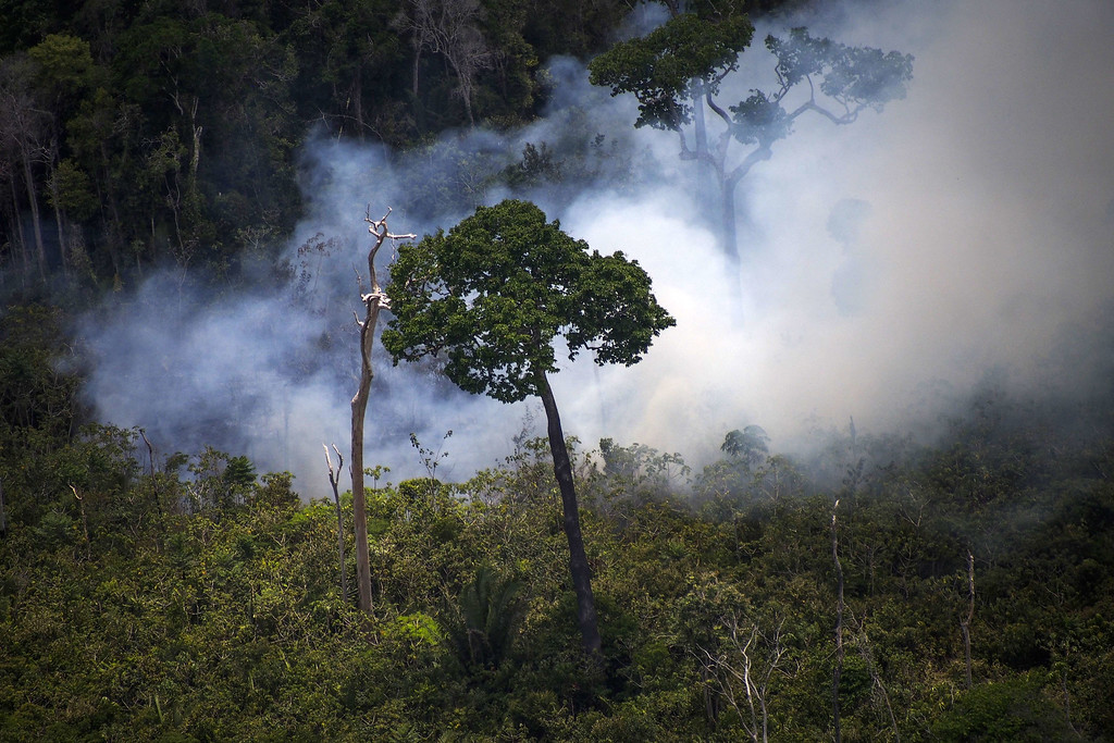 """. View of a forest fire in the Amazon forest during an overflight by Greenpeace activists over areas of illegal exploitation of timber, as part of the second stage of the \""""The Amazon\'s Silent Crisis\"""" report, in the state of Para, Brazil, on October 14, 2014. RAPHAEL ALVES/AFP/Getty Images"""