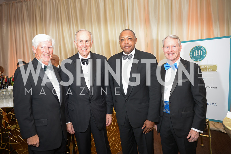 J. Scott Wilfong, William Couper, Haywood Nobles, Gerald Carlson, The Washington Business Hall of Fame, at the National Building Museum, November 28, 2018.  Photo by Ben Droz.