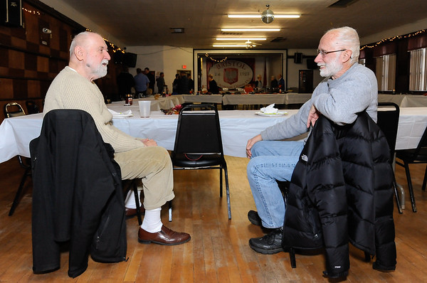 11/22/18 Wesley Bunnell | Staff The Bristol Polish American Club held a Thanksgiving dinner for area veterans. Veterans John Skinger, L, of Bristol and Joe Perkins of New Britain chat after enjoying their meals. Both veterans met for the first time after seeing the dinner preview in the Bristol Press and New Britain Herald.