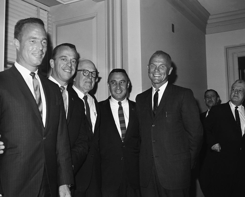 . Four astronauts leave the House Gallery in Washington, Oct. 10, 1963 after hearing part of the debate on the 1964 appropriations bill for the National Aeronautics and Space Administration (NASA). They are accompanied by Rep. George P. Miller, D-Calif., chairman of the House space committee. From left: Scott Carpenter, Alan Shepard, Rep. Miller, Virgil Grissom and John Glenn. (AP Photo/John Rous)