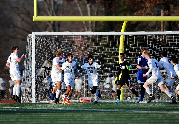 11/15/2019 Mike Orazzi | StaffrBristol Eastern goalie Nathan DiLoreto (1) after a last second Guilford goal to advance in the Class L Quarterfinal State Boys Soccer Tournament at Eastern on Friday.