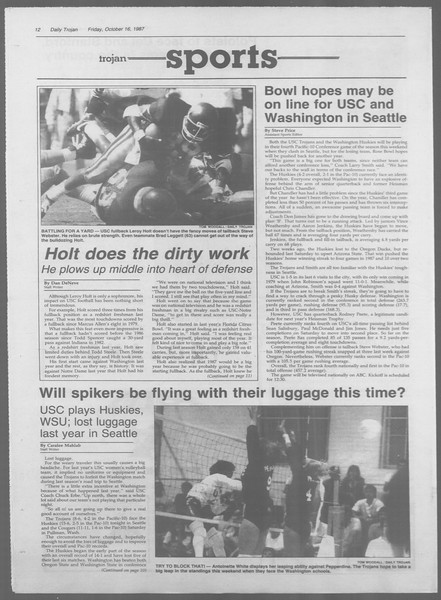 Daily Trojan, Vol. 105, No. 31, October 16, 1987