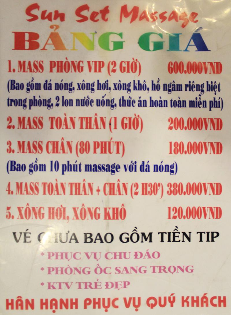 Bảng Giá Massage Phúc An Khang