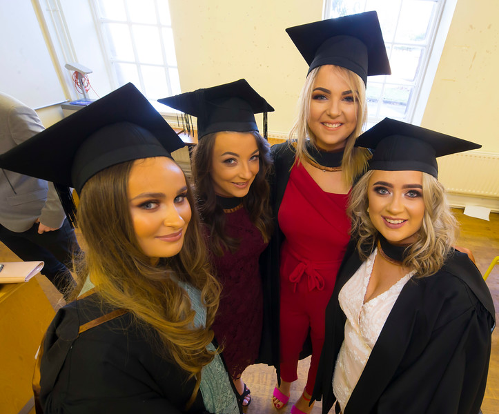 01/11/2018. Waterford Institute of Technology (WIT) Conferring Ceremonies 2018. Pictured are Jade O'Shea Bandon, Rachel Burke Waterford, Megan Collins Innishannon, Aìfe Dolan Carlow. Picture: Patrick Browne