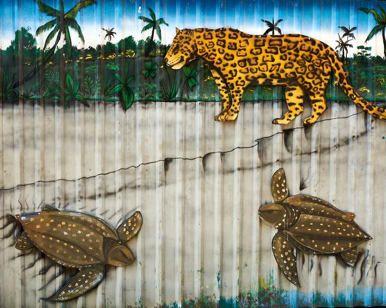 Tortuguero Village; Mural 2 - M