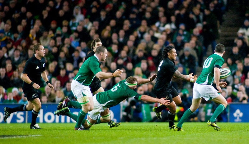 Ma'a Nonu passes infront of the Irish defence during the International rugby test with Ireland against the New Zealand All Blacks at Aviva Stadium Dublin. November 2010