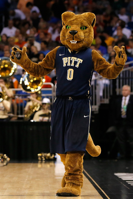 . The Pittsburgh Panthers mascot on the court in the second half as the Panthers take on the Florida Gators during the third round of the 2014 NCAA Men\'s Basketball Tournament at Amway Center on March 22, 2014 in Orlando, Florida.  (Photo by Kevin C. Cox/Getty Images)