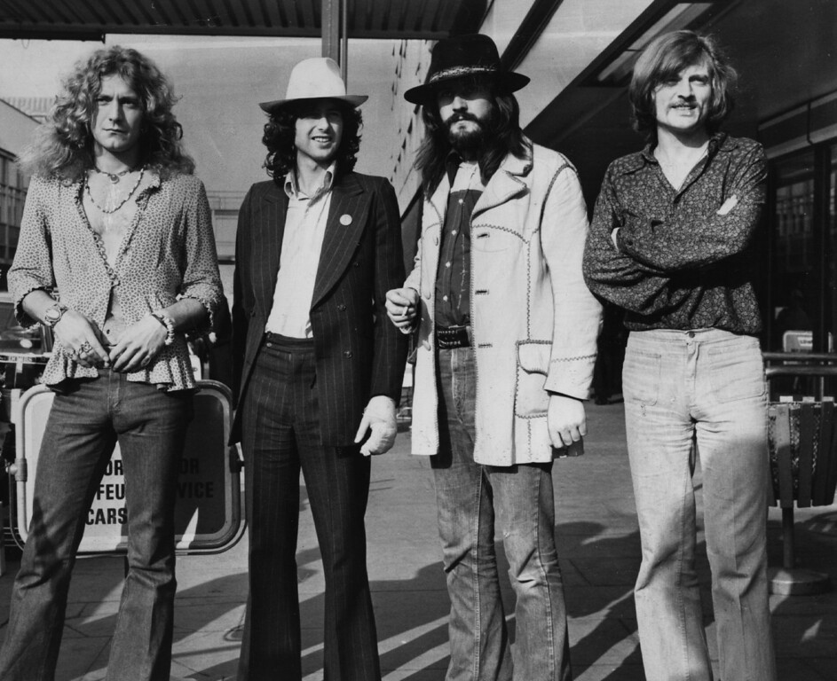 . June 1973:  British rock band Led Zeppelin. From left to right, Robert Plant, Jimmy Page, John Bonham (1947 - 1980), John Paul Jones.  (Photo by Evening Standard/Getty Images)
