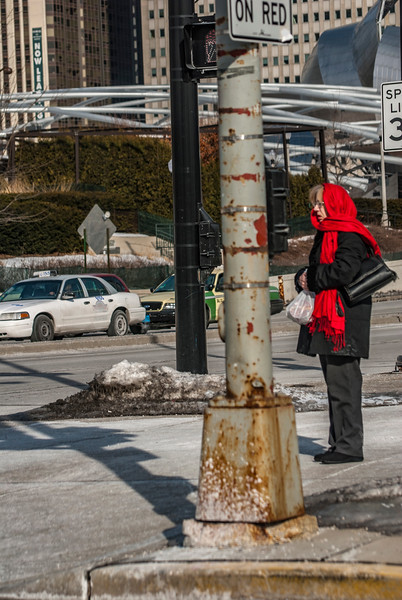 The lady in red scarf