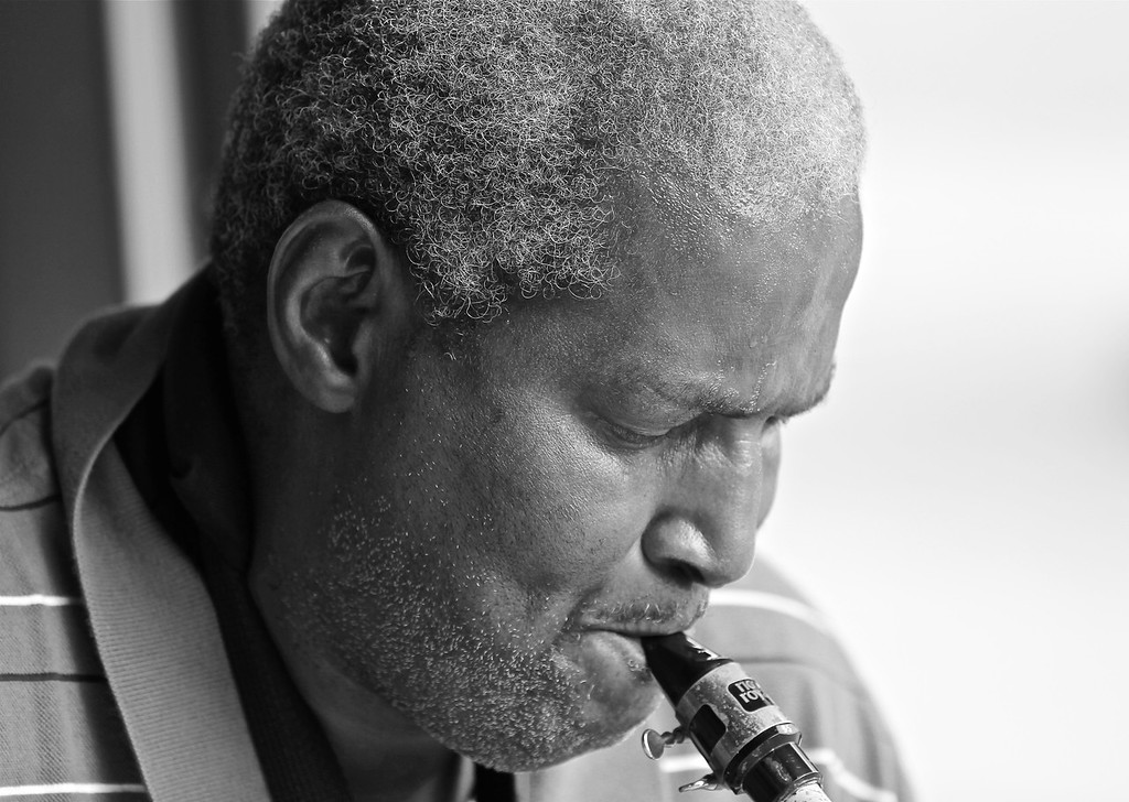 8/9/11<br /> <br /> I met Samad Samad outside the Westside Market. He's a street performer and plays the saxophone. <br /> <br /> Samad Samad has been in Cleveland for 45yrs after moving here from Chicago