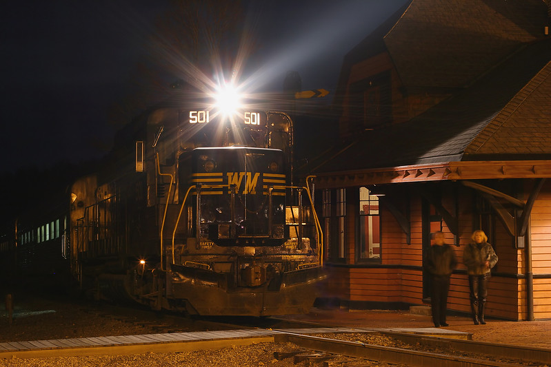 Diesel #501 idles at the Frostburg station Western Maryland Scenic Railroad