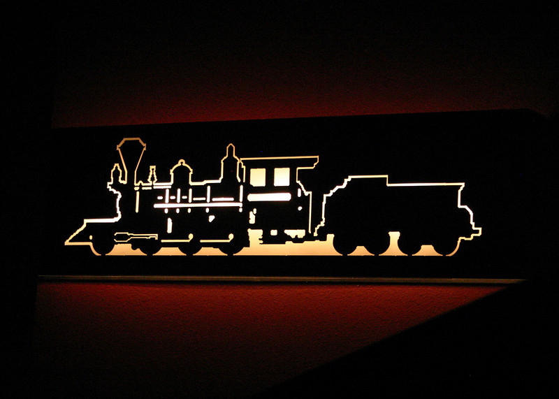 """This bit of railroad artistry adorns the walls of the """"Living Map"""" theatre at the old roundhouse in Lead."""