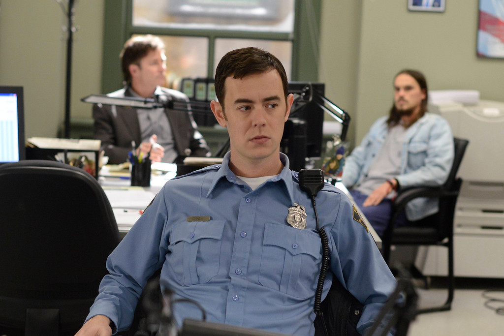 """. In this image released by FX, Colin Hanks portrays Gus Grimly in a scene from \""""Fargo.\""""  Hanks was nominated for a Golden Globe for best supporting actor in a series or mini-series for his role on Thursday, Dec. 11, 2014. The 72nd annual Golden Globe awards will air on NBC on Sunday, Jan. 11. (AP Photo/FX, Chris Large)"""
