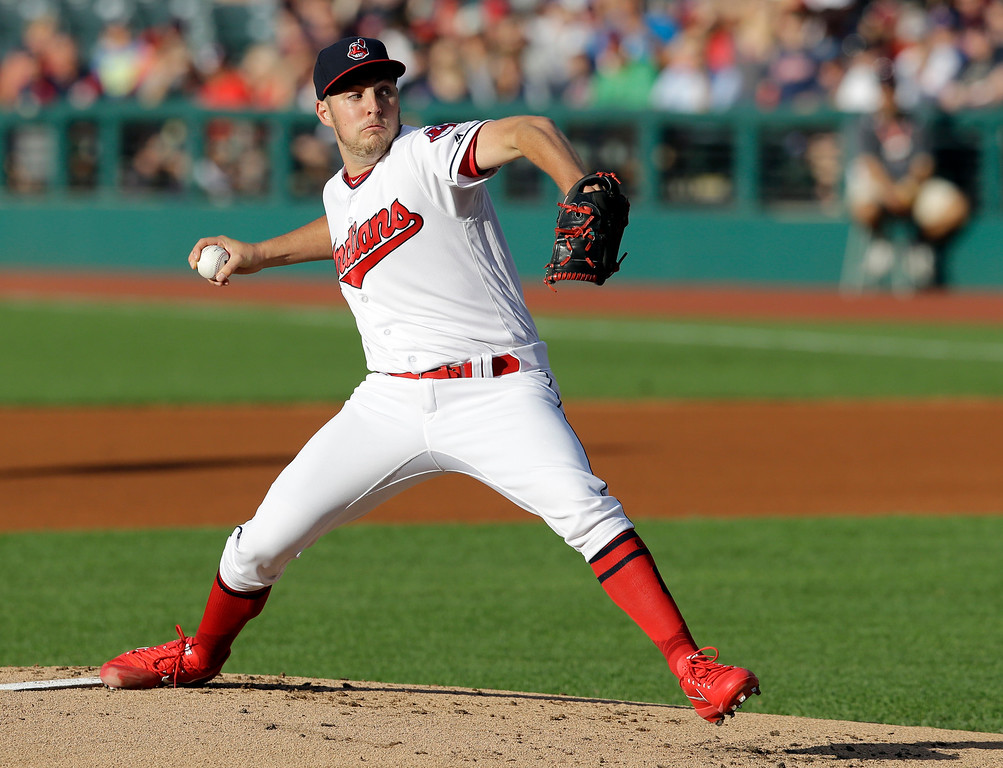 . Cleveland Indians starting pitcher Trevor Bauer delivers in the first inning of a baseball game against the San Diego Padres, Wednesday, July 5, 2017, in Cleveland. (AP Photo/Tony Dejak)