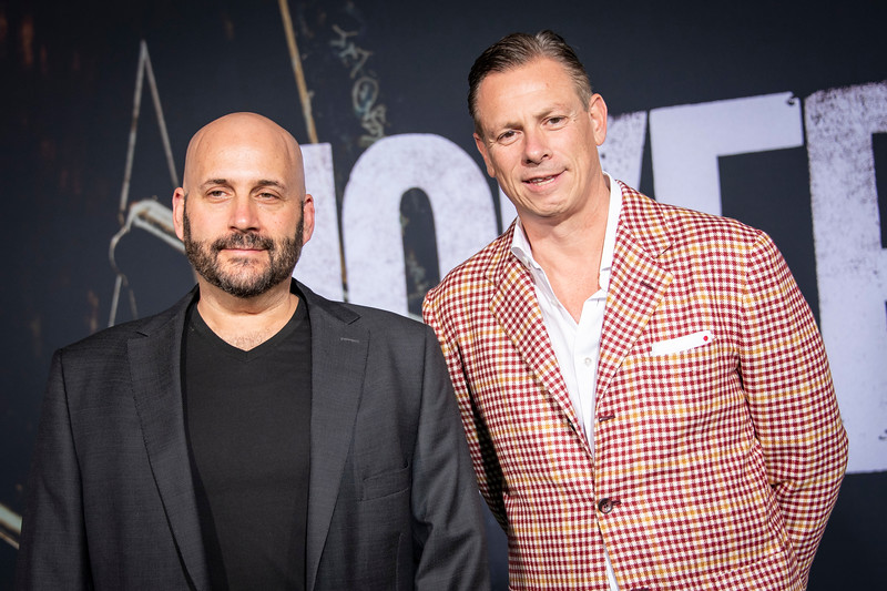 """HOLLYWOOD, CALIFORNIA - SEPTEMBER 28: Aaron L. Gilbert and Jason Cloth attend the premiere of Warner Bros Pictures """"Joker"""" on Saturday, September 28, 2019 in Hollywood, California. (Photo by Tom Sorensen/Moovieboy Pictures)"""