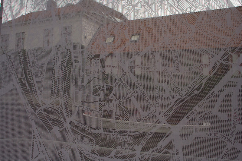 Bruges. A map of the town, done in lace.